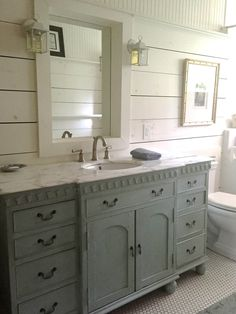 Wide Painted Vanity with Window Framed Mirror