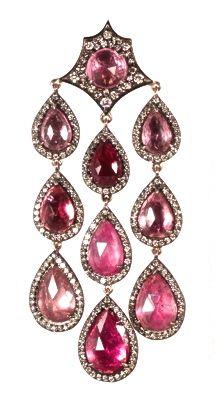 Parulina's Arabian Nights Collection--pink tourmaline and diamond earring