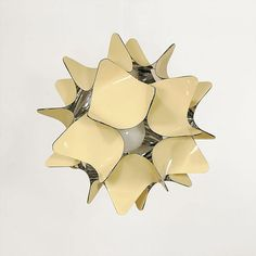 Modern ceiling light. Beige lampshade with silver by fumform, $149.00