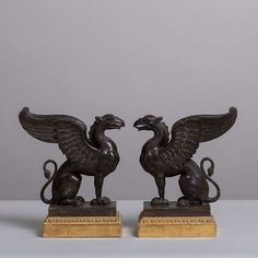 A Beautiful Pair of Carved Wood Griffins c. 1800 image 3
