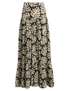 Leaf-print gathered cotton-blend maxi skirt | Chloé | MATCHESFASHION.COM UK