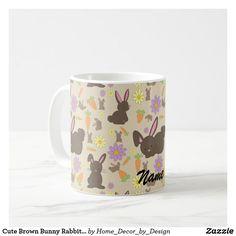 Cute Brown Bunny Rabbit Pattern Print Coffee Mug