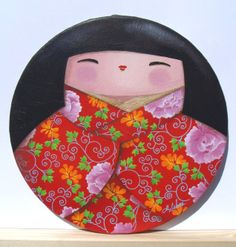 "KOKESHI - ""Elegante plénitude"", peinture acrylique sur châssis rond, 2012 - Myriam Lakraa Créations"
