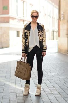 Zara Jackets, Celine Bags and Isabel Marant Sneakers Casual Chic Outfits, Sport Fashion, Look Fashion, Fashion Outfits, Womens Fashion, Fashion Trends, Street Fashion, Fashion Lookbook, Fashion Styles