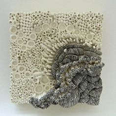 Delicate Earth II by Regina Farrell. Hand built clay canvases inspired by micro… Organic Ceramics, Earthenware Clay, Clay Tiles, Ceramic Wall Tiles, Clay Design, Mosaic Projects, Mosaic Designs, Paper Clay, Ceramic Artists