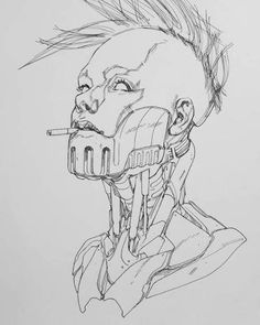by Ben Oliver Drawing Reference Poses, Art Reference, Ben Oliver, Arte Robot, Arte Cyberpunk, Cyberpunk Character, Robot Concept Art, Anime Sketch, Sci Fi Art
