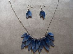 blue leaf tribal neclace and earrings
