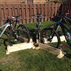 Hubby and the boys have taken up weekend morning bike trails and we normally store the bicycles in the garage. This self-containing bicycle stand is easy to make and you can make up as many as you need to store different thickness wheels, so it caters for mountain bicycles that have thick tyres.