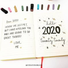 I love this little note to the new year. I think it sets a vibe. What kind of vibe will you send to 2020 in your Bullet Journal?   [photo credit: Sysy (@coucoubujo)]