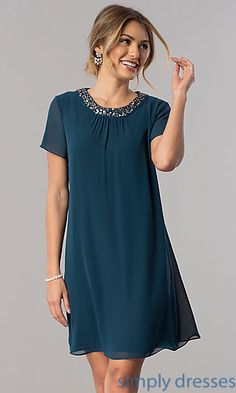 Shop short teal mother-of-the-bride dresses at Simply Dresses. Cheap semi-formal chiffon dresses under $100 with short sleeves and sequin collars.