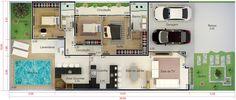 Cómo renovar tu fachada rápidamente, te enseñamos tips que harán de tu hogar un sitio único! Beautiful House Plans, Beautiful Homes, Home Developers, Pool House Plans, My Dream Home, Home Projects, Home Remodeling, New Homes, Floor Plans