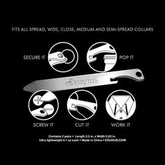 The James Bond Multi-tool ~~ Exuvius Titanium Multi-tool Collar Stays - bottle openers, screw drivers, thread cutting edge and more. Shirt Stays, Collar Stays, Collar Bone, Take My Money, Cool Gear, Gentleman Style, Gentleman Fashion, Mode Style, Fashion Accessories