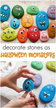 A fun halloween craft for kids to make. Decorate Make stone halloween monsters! A fun halloween craft for kids to make. A fun halloween craft for kids to make. Halloween Crafts For Kids To Make, Halloween Crafts For Toddlers, Halloween Tags, Halloween Activities, Halloween Projects, Toddler Crafts, Diy For Kids, Halloween Costumes, Creative Ideas For Kids