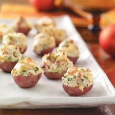 Twice-Baked New Potatoes Recipe from Taste of Home -- I've used these rich potatoes as both an appetizer and side dish.  — Susan Herbert, Aurora, Illinois