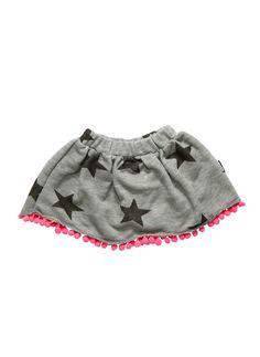 Nununu Pompom skirt in melange grey/pink