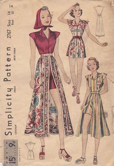 1930s Playsuit, Skirt & Kerchief Pattern Simplicity 2767 Size 14 Bust 32