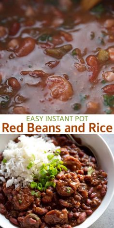 This Instant Pot Red Beans and Rice recipe takes a New Orlean's staple and adapts it wonderfully for the instant pot! Sausage, ham, vegetables, and seasonings combined with dry, uncooked beans cook al Best Instant Pot Recipe, Instant Pot Dinner Recipes, Sunday Dinner Recipes, Bean Recipes, Vegetarian Recipes, Healthy Recipes, Healthy Pressure Cooker Recipes, One Pot Recipes, Curry Recipes