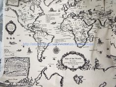 World maps compass cream fabric pinterest shops map compass find this pin and more on baby boy quilt 1 yard vintage retro world map cotton linen sewing quilting fabric wide gumiabroncs Image collections