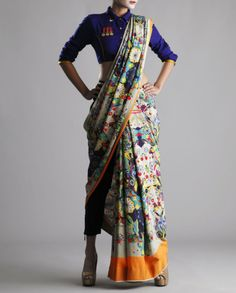 Nida Mahmood - Multi-Colored Art Filled Printed Crepe Saree