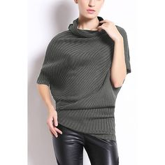 Yoins Dark Grey Batwing Jumper ($33) ❤ liked on Polyvore featuring tops, sweaters, grey, shirts & tops, dark gray sweater, oversized sweater, dark grey sweater, roll neck sweater and shirt sweater