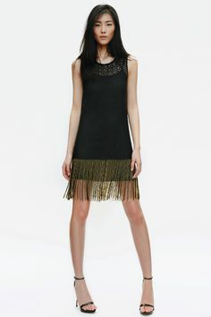 zara april 2012 lookbook. DRESS WITH DIAMANTE AND FRINGING ON THE HEM 129.00 USD  THIN STRAP SANDALS 89.90 USD