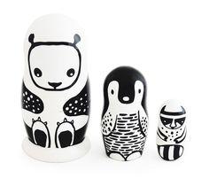 """Nesting Dolls """"Black & White Animals"""""""