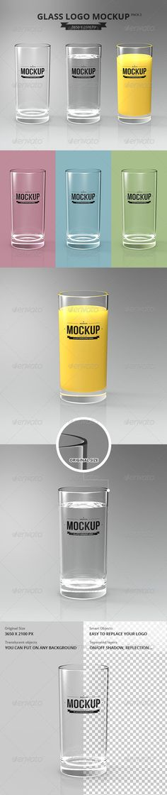 Glasses Logo Mockup vol. 2 Features: 1 Pre-Made Scene Organizaed Layers and Folders Editable via Smart Object Photorealistic Result Background included Translucent Glass On/Off Shadows and ReflectionHelp File Present your brand with this Glasses Logo Mockup ¨C This PSD template designed in 3 styles. Can be used for juice or water brand showcasing