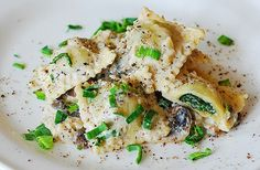 Ravioli with goat cheese and spinach filling in parmesan cream sauce by JuliasAlbum.com, via Flickr