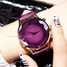 10% off, 14 Days Left 6 Colors Available HK GUOU Brand Quartz Lady Watch Rhinestone Waterproof Women's Watch Genuine Leather Upscale Large Dial Luxury Gift Wristwatches