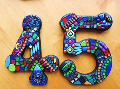 """11"""" Tall - LARGER CUSTOM Made Mixed Media Mosaic House Numbers - Your Color Choice - Order Your 11"""" Size Numbers From This Listing / OOAK"""