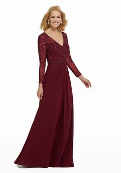 Shop Morilee's Beaded Embroidery on Net Over Stretch Mesh. Stretch mesh evening gown featuring beaded embroidery on net bodice and long sleeves. Keyhole back and A-line silhouette. Mob Dresses, Pageant Dresses, Bridesmaid Dresses, Bride Dresses, Mori Lee, A Line Gown, Off Shoulder Gown, Your Turn, Groom Dress