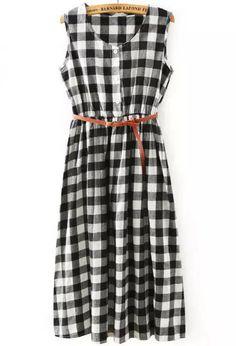 Black White Sleeveless Plaid Pleated Dress 17.67
