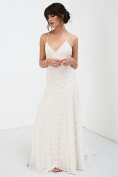 Simple Wedding Dress 2020 V Neck Straps Sleeveless Floor Length Boho Bridal Gown Slip Wedding Dress, Wedding Dresses For Sale, Bohemian Wedding Dresses, White Boho Dress, Silk Slip, Dress Picture, Petite Dresses, Ladies Dress Design, Bridal Collection