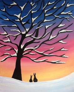Easy Canvas Painting, Winter Painting, Canvas Art, Canvas Ideas, Acrylic Paintings, Winter Scenes To Paint, Winter Drawings, Dibujos Tumblr A Color, Wine And Canvas