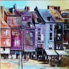 Sur le quai d'Honfleur : 60x60 acrylique sur toile