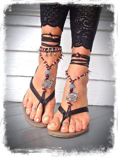 Asian DRAGON BAREFOOT sandals Black Red Toe Anklets by GPyoga, $76.00