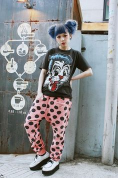Stray Cats t-shirt with pink and black polka dot pants