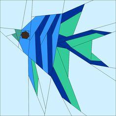 "Angel Fish 10"" (25cm) Paper Pieced patterns for sale quiltartdesigns.blogspot.com"