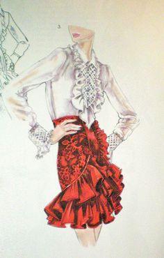 Fashion illustration by Kathryn Hagen. Full video on youtube at OtisCollege