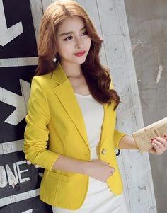 76f510cf44b6 Jackets Cotton Blazer full sleeve Suits Office Casual Female Blazer slim