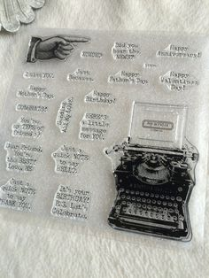 Clear Stamp Piece Set of Vintage by JudeAlyssaMarkus Typed Notes, Pointing Fingers, Vintage Typewriters, Journal Prompts, Clear Stamps, Happy Day, Cardmaking, Stationary, Vintage Inspired