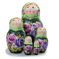 Matryoshka 5pcs Spring New Beautiful Green Wooden Russian Nesting Dolls Gift Matreshka Handmade Hand-painted Babushka...