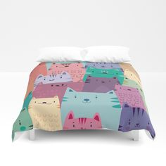 Pastel Cats Duvet Cover by Maria Jose Da Luz. Worldwide shipping available at Society6.com. Just one of millions of high quality products available.