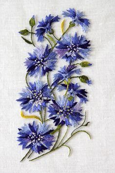 Cornflowers / Rukkililled. Hand embroidery on tulle - Gorgeous Color & Stitching!: