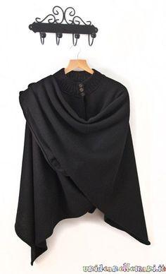 rectangle 120x150. 120 = hauteur à plier en deux niveau épaule. 150=largeur, à ouvrir au milieu devant. col tricoté ajouté + boutons