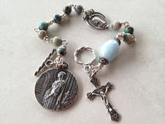 I handcraft heirloom quality gemstone rosaries in classical chain work. The rosary bead parts are vintage reproduction. Rosary Bracelet, Rosary Beads, Prayer Beads, Rosary Catholic, Catholic Art, Handcrafted Jewelry, Rosaries, Past, Chain