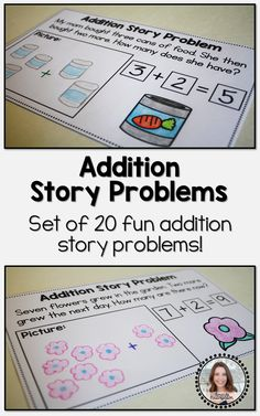Students will love working with these addition story problem worksheets! This product includes 20 different addition story problems to use in your classroom! Each story is unique, fun, and easy to understand. Math Resources, Math Activities, Kids Worksheets, Fun Math, Math Games, Math Story Problems, Word Problems, 1st Grade Math, Grade 1