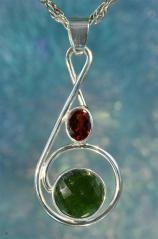 Garnet & Faceted Moldavite Gemstone 925 Silver Jewelry