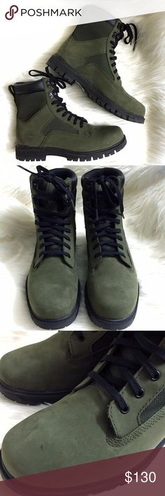 """Timberland Radford Utility Olive Green 7"""" Boots Brand new WITHOUT tags or box, men's size 9. These Timberland Radford Utility Olive Green & Black 7"""" Lace Up Boots Boots are made to last! Made with full grain leather, these will look even better with time. Black sole, laces and metal hardware. Rubber outsole with Dynamic Flex sole flexes with every step. Love the combat / military style of these boots! If you are looking for heavy duty & high quality, then these are the boots for you. The…"""
