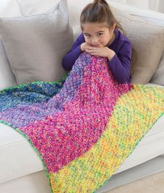 Carry Along Cuddle Blanket Free Knitting Pattern from Red Heart Yarns